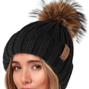 Knit Beanie Hats for Women Fleece Lined with Real